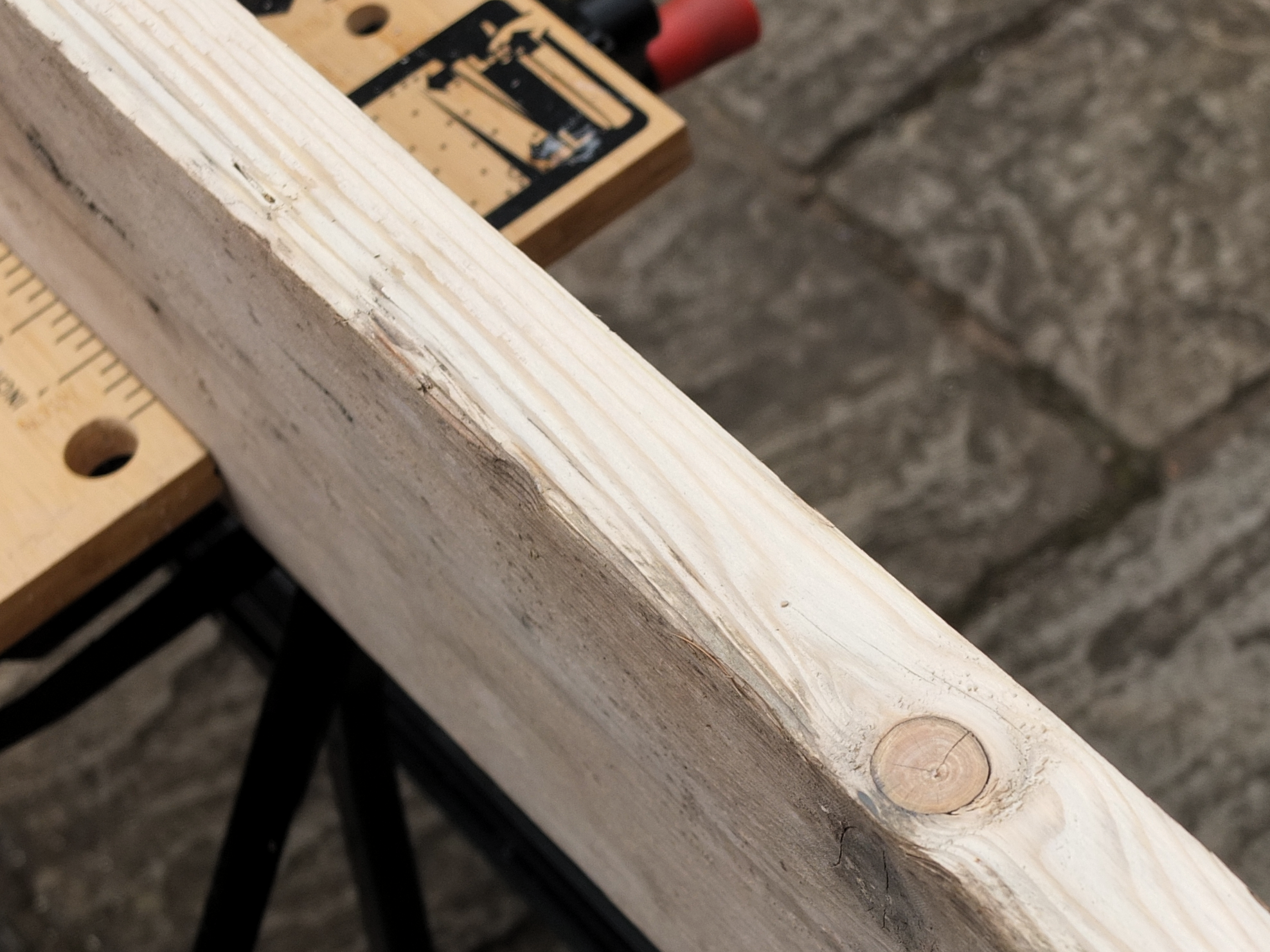 making a scaffold plank table giles paterson. Black Bedroom Furniture Sets. Home Design Ideas